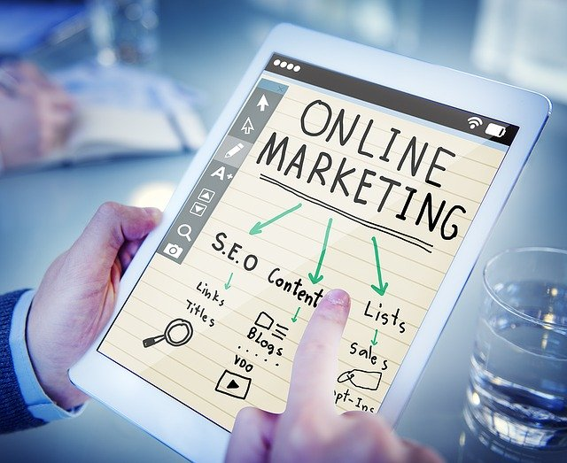 Online marketing graphic on a table