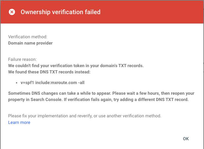 DNS verification failed