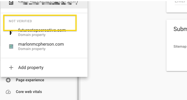 not verified - search console